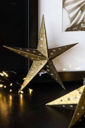 Image of the Vintage Gold Glitter Star Christmas Tree Decoration standing up