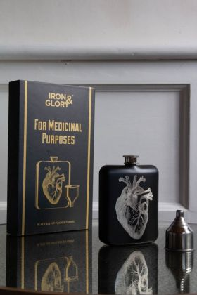 Image of the Black Hip Flask With Laser Etched Heart with the presentation box