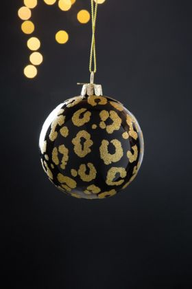 Black Leopard Print Bauble Christmas Tree Decoration