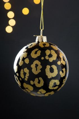Image of the Black Leopard Print Bauble Christmas Tree Decoration