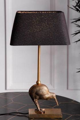 Image of the Black Rectangle Lamp Shade With Leopard Print Lining lit up