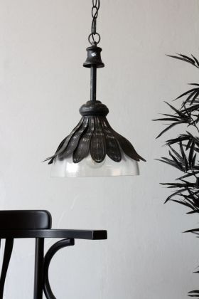 Lifestyle image of the Black Metal & Glass Vintage Style Flower Pendant Light