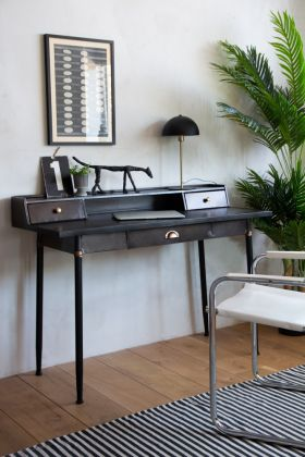 Lifestyle image of the Black Metal Bureau Desk With 3-Drawers