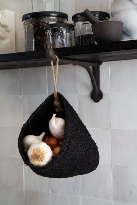 Image of the Black Natural Jute Hanging Storage Basket