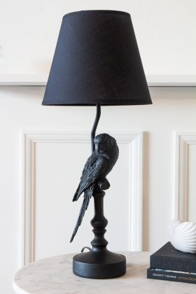 Image of the Black Parrot Table Lamp With Lamp Shade