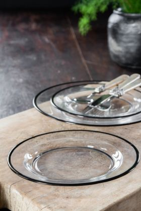 Black Rimmed Glass Side Plate
