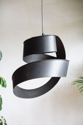 Lifestyle image of the Black Twisted Ribbon Ceiling Light