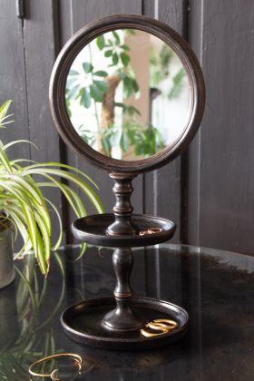 Image of the Black Vanity Mirror With Trays