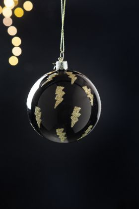 Black With Glitter Lightning Bolt Bauble Christmas Tree Decoration
