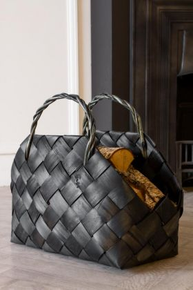 Lifestyle image of the Black Woven Basket With Handles