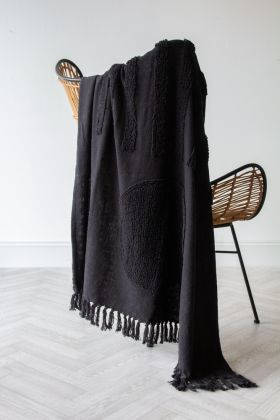 Image of the Black Multi-Texture Hand-Spun Cotton Throw on a chair