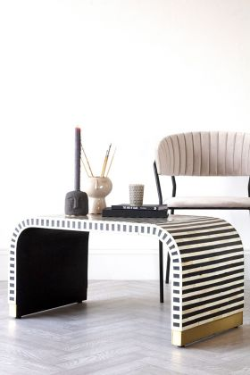 Lifestyle image of the Monochrome Stripe Bone Inlay Coffee Table