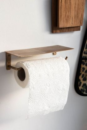 Lifestyle image of the Brass Effect Kitchen Roll Holder With Ledge
