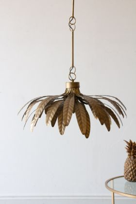 Image of the Brass Vintage Style Leaf Flower Pendant Light