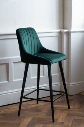 Lifestyle image of the Rich Green Tall Casino Velvet Bar Stool