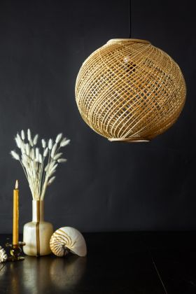 Panned in image of the Natural Woven Cane Sphere Pendant Ceiling Light