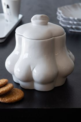 Cheeky Bottom White Ceramic Biscuit Jar With Lid