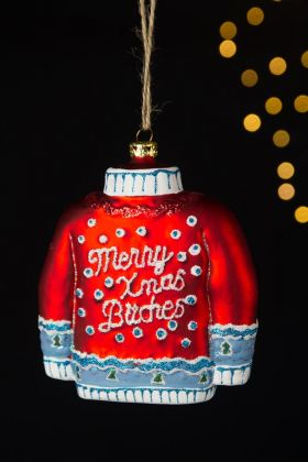 Image of the Merry Xmas Bitches Christmas Jumper Hanging Decoration