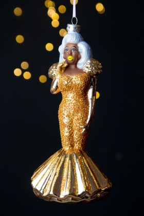 Drag Queen In A Gold Dress Christmas Tree Decoration