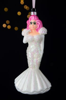Image of the Drag Queen In A White Dress Christmas Tree Decoration