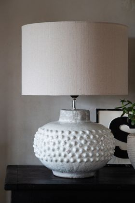 image of the Crackle Glaze Oversized Ceramic Table Lamp With Linen Lamp Shade
