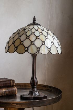 Lifestyle image of the vintage style Cream Jewelled Art Deco Tiffany-Style Lamp