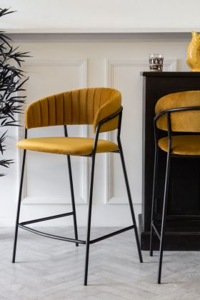 Image of the Curved Back Velvet Bar Stool In Golden Ochre