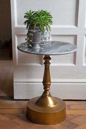 Lifestyle image of the Vintage Marrakesh Brass & Marble Side Table