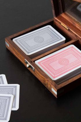 Double Playing Card Set In Traditional Wooden Box
