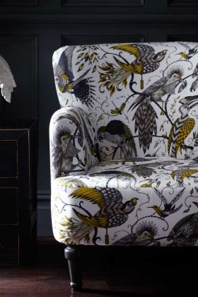 Close-up image of the Audubon Dalston Gold Armchair By Emma J Shipley