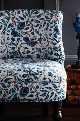 Close-up image of the Rousseau Langley Blue Cocktail Chair By Emma J Shipley
