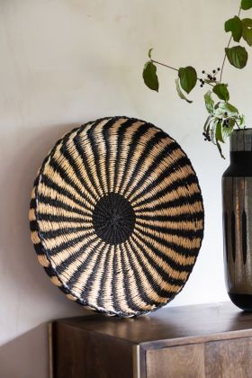 Lifestyle image of the Ethnic Black & Natural Woven Display Tray
