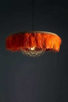 Image of the Juliette Fabulous Feather Chandelier Featuring Chains in Burnt Orange on a dark background