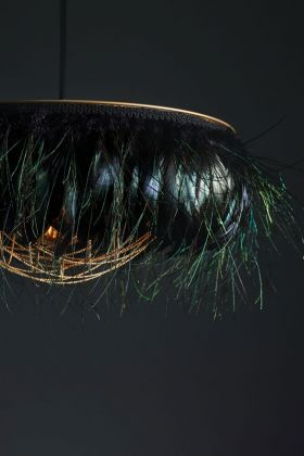 Close-up image of the Juliette Fabulous Feather Chandelier Featuring Chains in Iridescent Black/ Electric Peacock