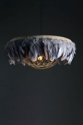 Image of the Juliette Fabulous Feather Chandelier Featuring Chains in Two Tone Grey on a dark background
