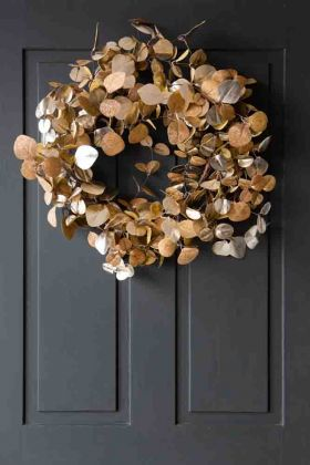 Image of the Fabulous Gold Eucalyptus Style Wreath hanging on a door