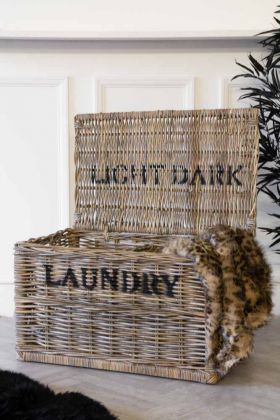 Light & Dark Wicker Laundry Hamper