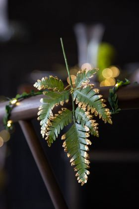 Fern Leaf With Gold Glitter Tips Hanging Decoration