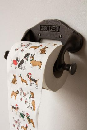 Lifestyle image of the Festive Pooch Toilet Paper Roll