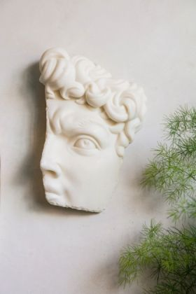 Lifestyle image of the Fragment Of Michelangelo's David Wall Art hanging on the wall