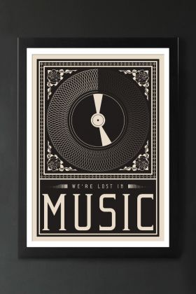 Image of the Framed Lost In The Music Art Print hanging on a wall