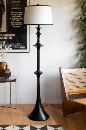 Lifestyle image of the French Style Tall Black Floor Lamp With Cream Shade