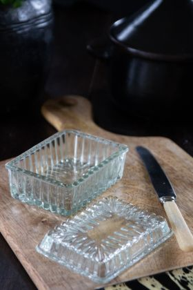 Image of the Glass Butter Dish with the lid off