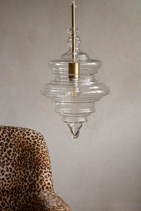 Lifestyle image of the Traditional Glass Drop Ceiling Pendant Light