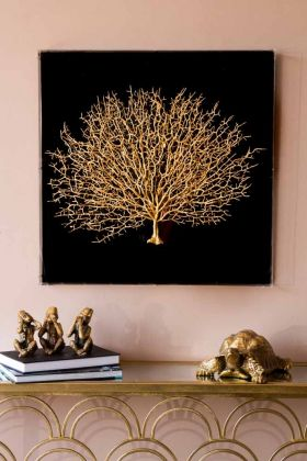 Gold Coral Boxed Wall Art