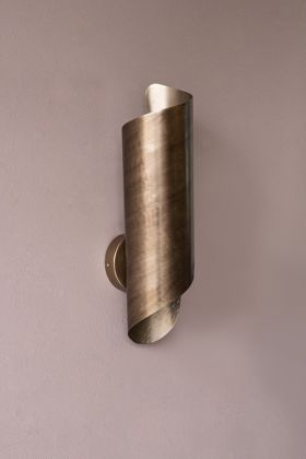 Image of the Gold Curved Wall Light on the wall