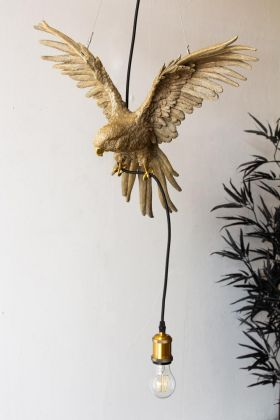 Lifestyle image of the Gold Flying Parrot Pendant Ceiling Light