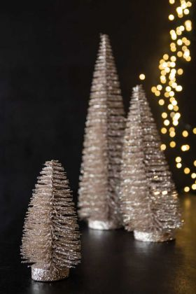 Image of the Set Of 3 Champagne Gold Glitter Christmas Tree Decorations - Small, Medium & Large
