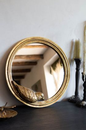 Image of the Gold Parrot Round Wall Mirror