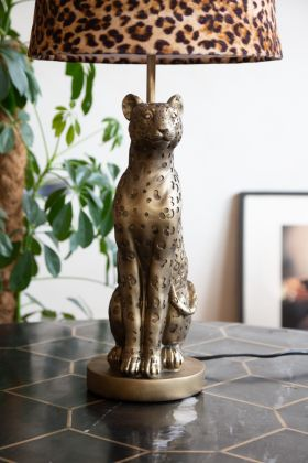 Front on image of the Gold Leopard Table Lamp